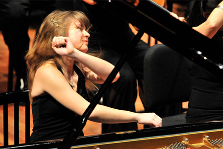 woman in a piano concert